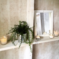Electric tea lights and a small mirror to make the privy a little brighter.