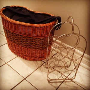 This is an insulated picnic basket and a wine rack that I was gifted from my local Buy Nothing Project.