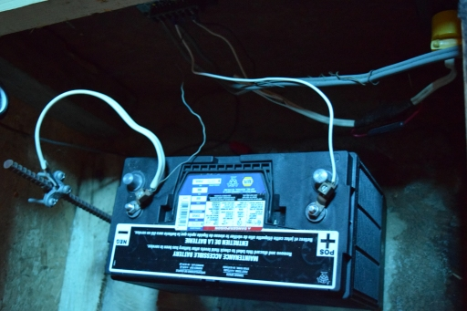 This is the deep-cycle battery that is hooked to the basic 12V light system.