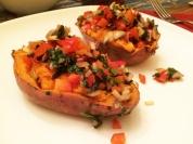 Stuffed sweet potatoes.