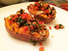 Stuffed sweet potatoes.