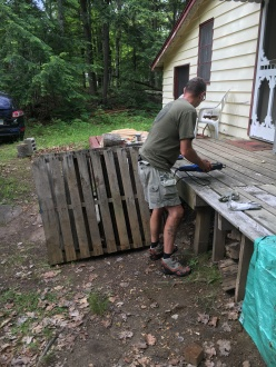 Bob starts working on the pallets.