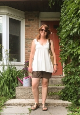 A-line tunic in organic bamboo jersey. Shorts are from MEC and are at least 6 years old.