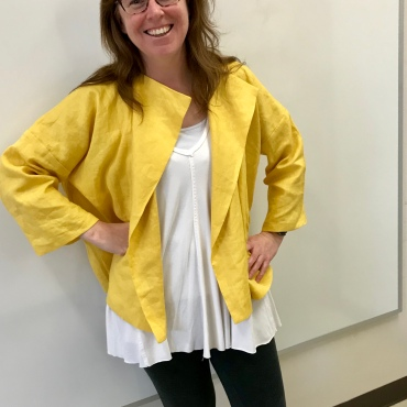 A goldenrod linen jacket by Purl Soho.