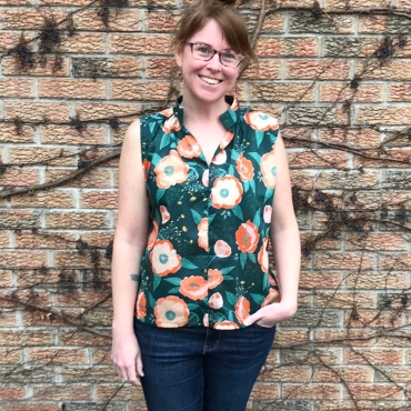 A sleeveless Match top by Sew Liberated in recycled voile from the Hintonburg Fabric Flea Market.